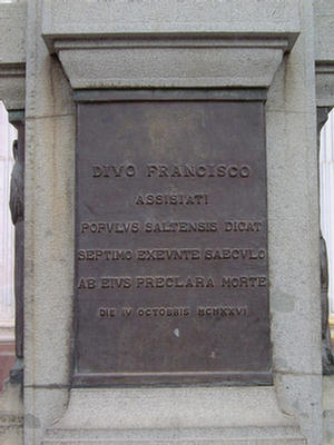 Foto de la Placa del Divo Francisco, Salta.