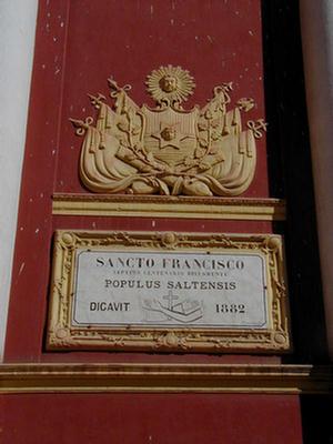 Foto de la Placa del Sancto Francisco en 1.882, Salta.