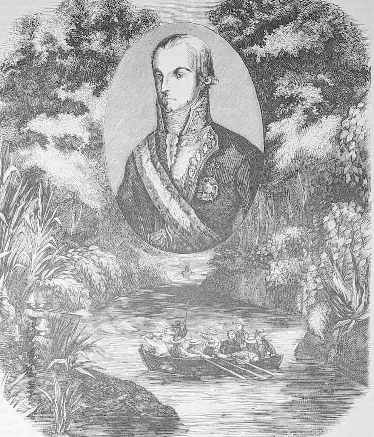Imagen de 1.852 del teniente general Don Ramón García de León, primer marques de Casa Pizarro, escena revolución americana.