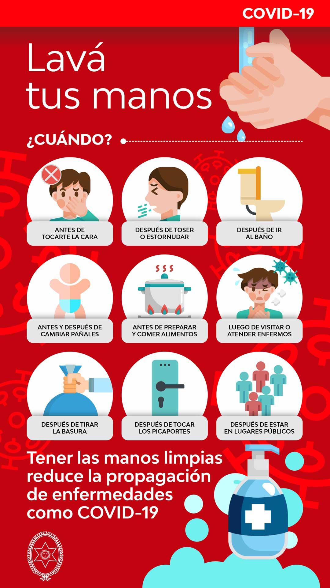 Foto de afiche cuándo, manos limpias reducen el contagio del COVID-19 en Salta.