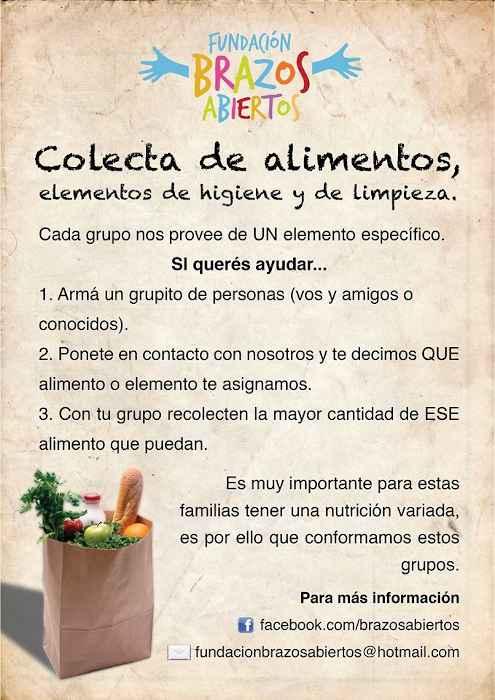 Imagen del folleto colecta de alimentos, Salta.
